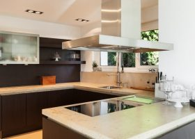Concrete counter tops in this fascinating kitchen remodel